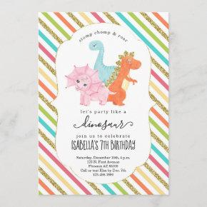 Personalized Dinosaur Themed Girls Birthday Party Invitation