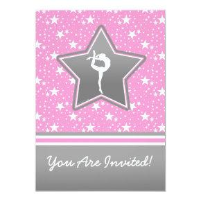 Personalized Gymnastics Among the Stars in Pink Invitation