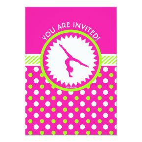 Personalized Gymnastics Pink Green Polka-Dots Invitation