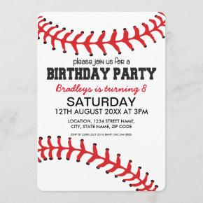PERSONALIZED KIDS BASEBALL BIRTHDAY INVITATION