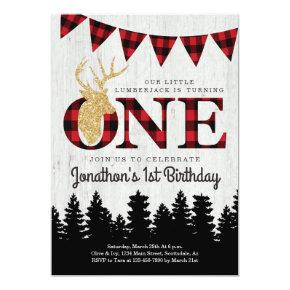 Personalized Lumberjack Theme Boys First Birthday Invitation