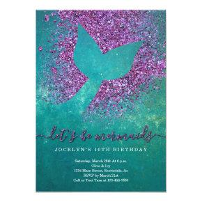 Personalized Mermaid Themed Birthday Party Invitation