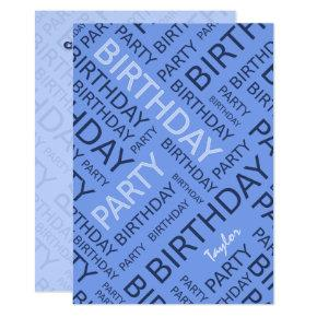 Personalized name Birthday party invitation blue