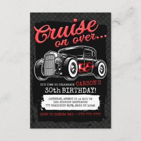 Personalized NAME Classic Hot Rod Birthday Party Invitation