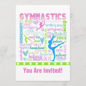 Personalized Pastel Gymnastics Words Typography Invitation