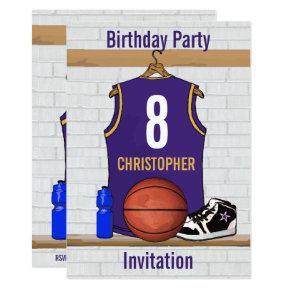 Personalized Purple and Gold Basketball Jersey Invitations