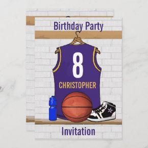 Personalized Purple and Gold Basketball Jersey Invitation