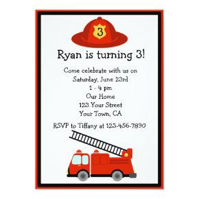 Personalized Red Fire Truck Birthday Party Invite