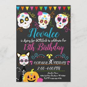 Personalized Sugar Skull Birthday Party Invitation