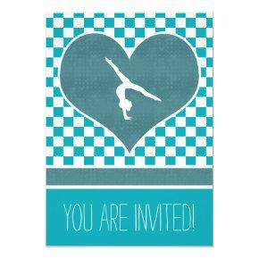 Personalized Teal Green Checkered Gymnastics Card