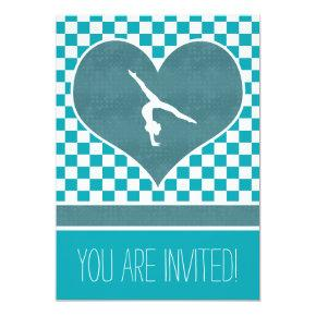 Personalized Teal Green Checkered Gymnastics Invitations