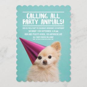 PET DOG'S PUPPY PARTY PHOTO INVITE