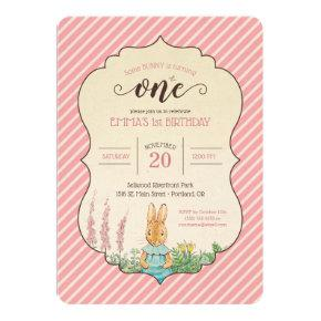 Peter Rabbit | Baby Girl's First Birthday Invitation