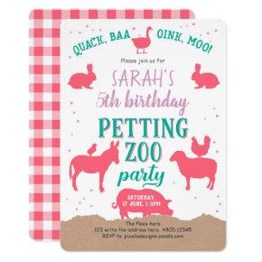 Petting Zoo Party, Pink, Farm Animals, Girl Invitations