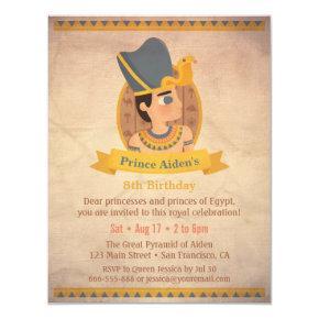 Pharaoh Egyptian Themed Kids Birthday Party Invitation