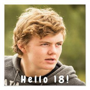 Photo 18th birthday party hello 18 boy black invitation