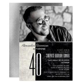 Photo 40th Birthday , Black and White Marble Invitation