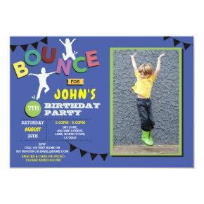 Photo Birthday Jump Bounce Party Trampoline Blue Invitations