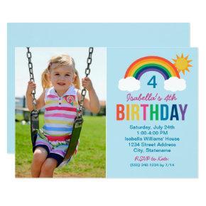 Photo Birthday Party Invitations | Rainbow Colors