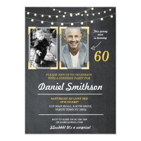 Photo Birthday Party Men's 2 Pictures Surprise Invitation