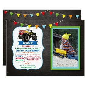 Photo Birthday Party Truck Car Monster Smash Invitation