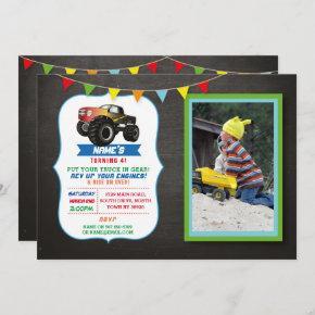 Photo Birthday Party Truck Car Monster Smash Invitation
