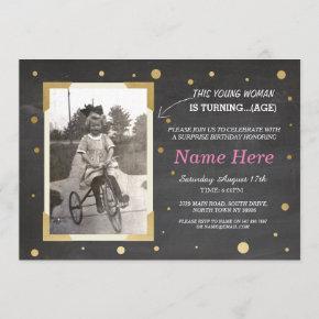 Photo Birthday Vintage Chalk Invite Womens 50th 60