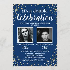 Photo Blue Gold Double Birthday Invitation