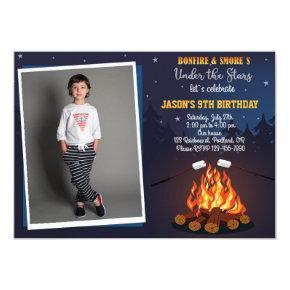 Photo Bonfire birthday invitation Camping party