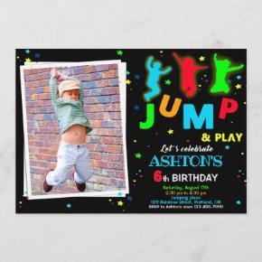 Photo Bounce birthday invitation Jump park invite