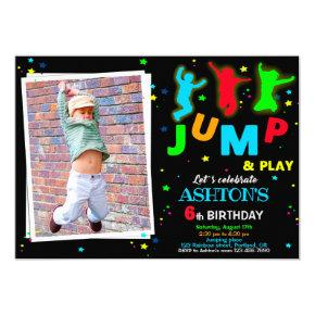 Photo Bounce birthday invitation Jump park invite