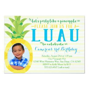 Photo Boy Luau Pineapple Birthday Invitations