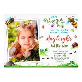 Photo Bugs birthday invitation 1st First birthday