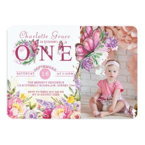 Photo Butterfly Watercolor Floral First Birthday Invitation