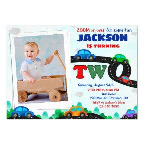 Photo Cars birthday invitation Driver 2nd birthday