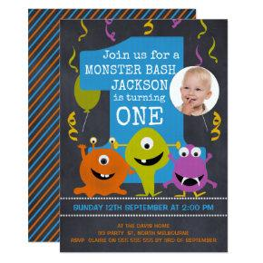 Photo Chalkboard Monsters 1st Birthday Invitations