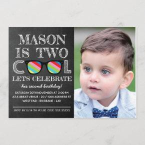 Photo Chalkboard Two Cool Two Years Old Birthday Invitation