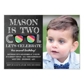Photo Chalkboard Two Cool Years Old Birthday Invitation