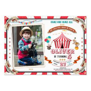 Photo Circus birthday invitation Vintage Carnival