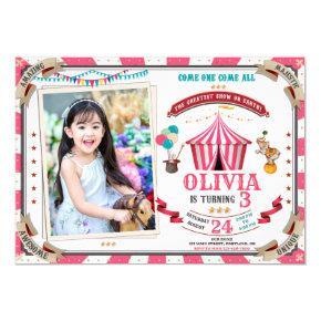Photo Circus birthday invitation Vintage Festival