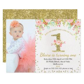 Photo Faux Gold Floral 1st Birthday Invitations