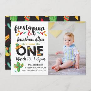 Photo Fiesta First Birthday Invitation