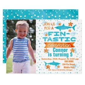 Photo Fin-tastic Shark Birthday Invitation