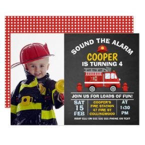 Photo Fire Engine And Hydrant Birthday Invitation
