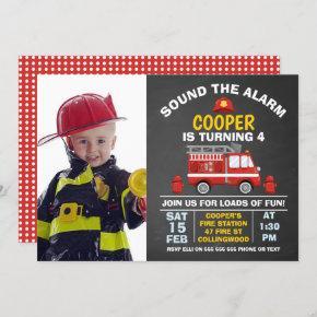 Photo Fire Engine And Hydrant Birthday Invitation