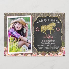 Photo Floral Glitter Horse Birthday Invitation