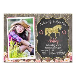 Photo Floral Glitter Horse Birthday Invitation