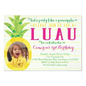 Photo Girl Luau Pineapple Birthday Invitations