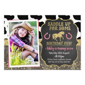 Photo Glitter Horse Birthday Invitation