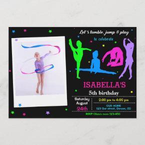 Photo Gymnastics birthday invitation Flip jump